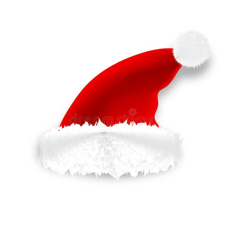Realistic vector Santa hat isolated on white background.  vector illustration