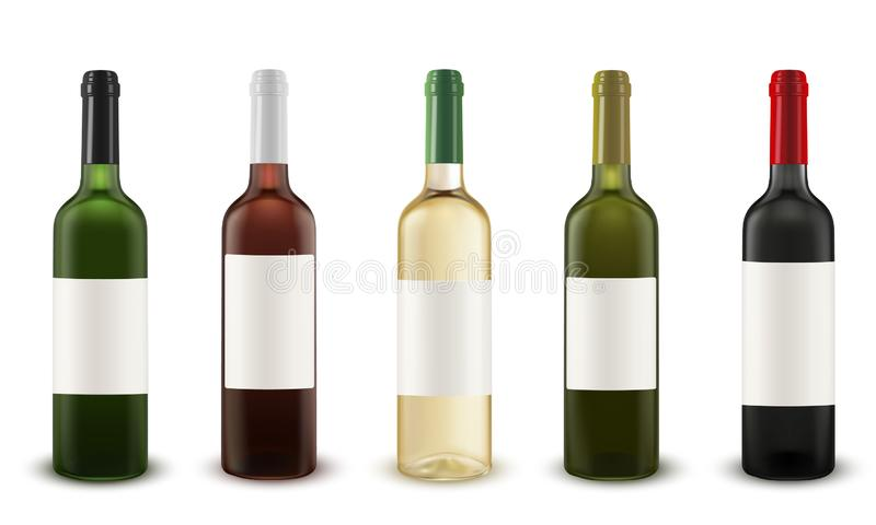Realistic vector set of wine bottles of various colors of glass. royalty free illustration