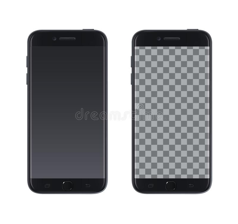Realistic vector smartphone black design with empty screen. Vector isolated smartphone with empty screen to present your app, desi royalty free illustration