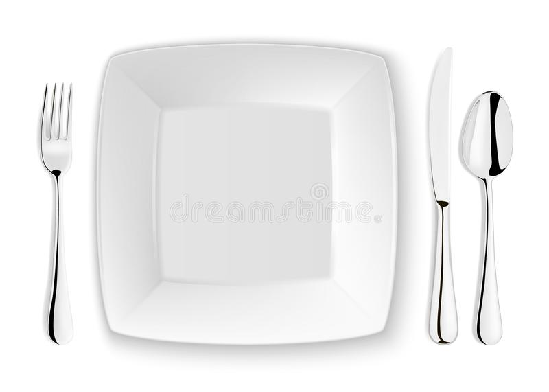 Realistic vector spoon, fork, knife and dish plate closeup on white background. Design template or mock up. Top royalty free illustration