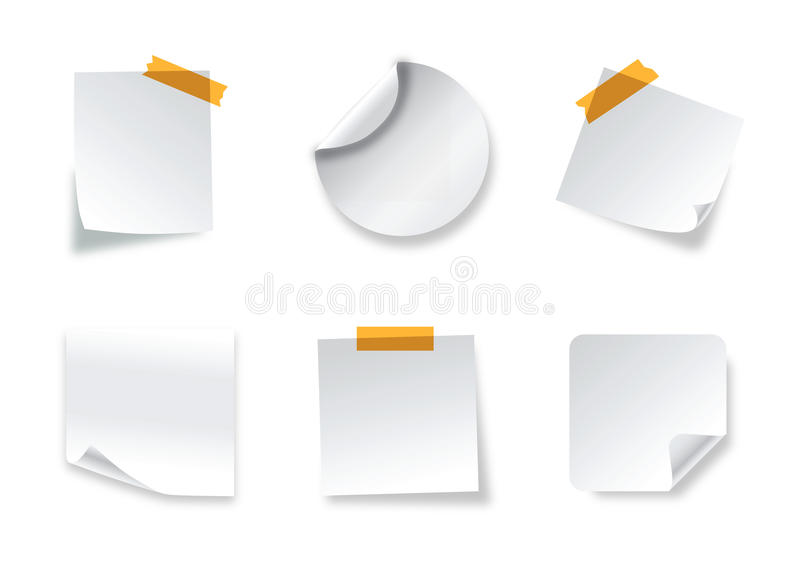 Realistic vector stickers with peeling corners stock illustration