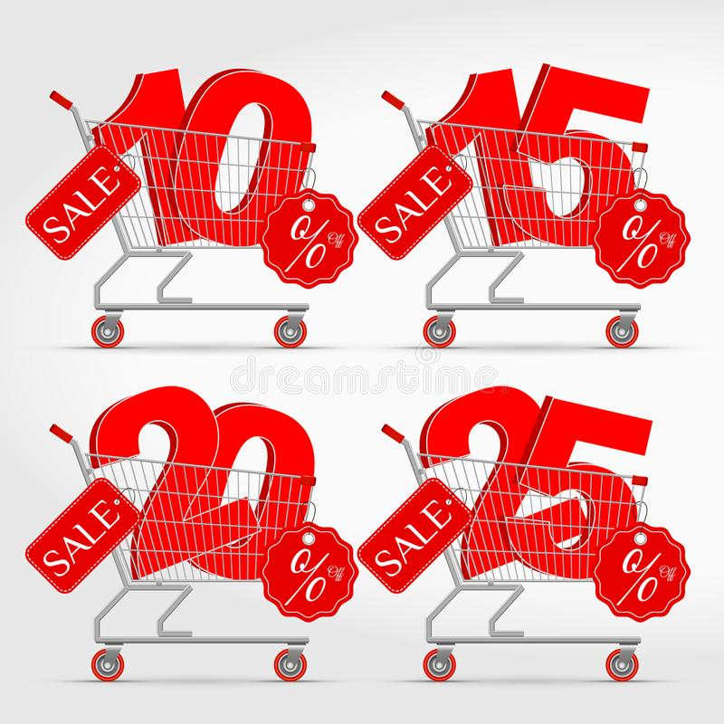 Realistic Vector Supermarket Cart with 3D Sale Percentage Numbers stock illustration