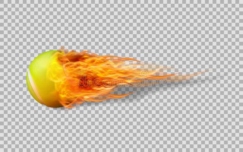Realistic vector Tennis ball in fire on transparent background. stock illustration