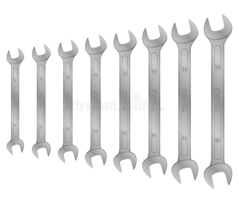 Realistic vector tool. wrench set stock illustration