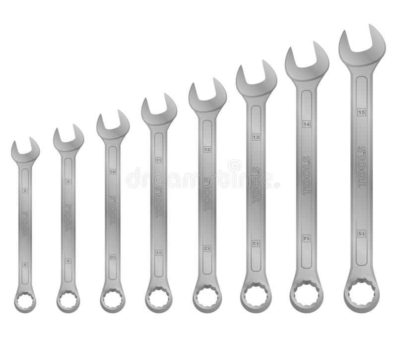 Realistic vector tool. wrench set. Tools from steal for mechanics vector illustration