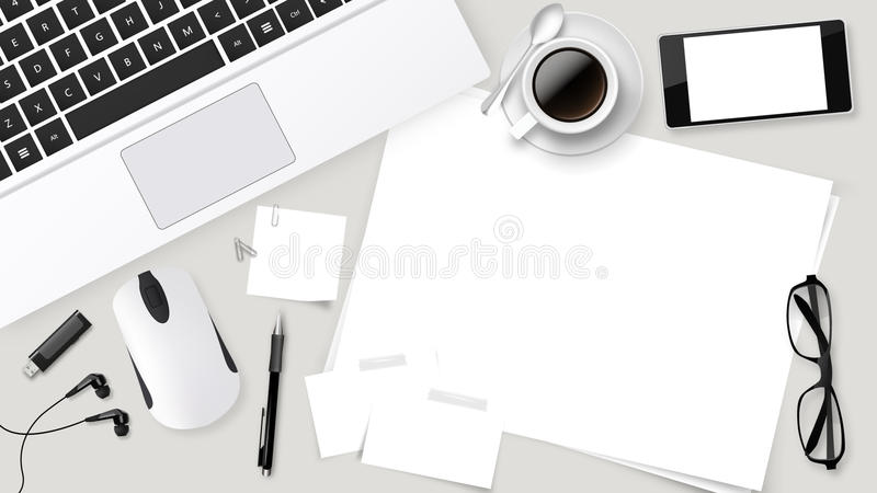 top office table cup. Download Realistic Vector Top Office Table With Laptop Cup Of Coffee, Papers, Pencil, T