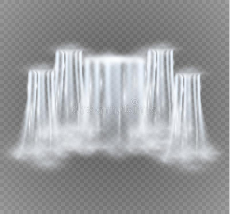 Realistic vector waterfall with clear water. Natural element for design landscape images.Isolated on transparent. Background stock illustration