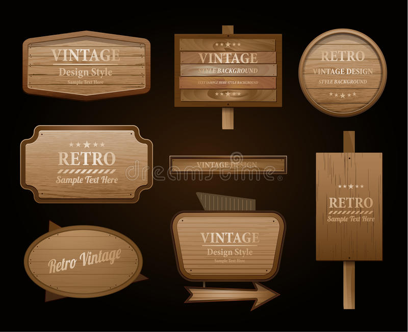 Realistic vector wood sign and banner vector illustration