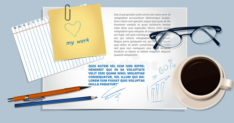 Realistic vector workplace .Top view vector illustration