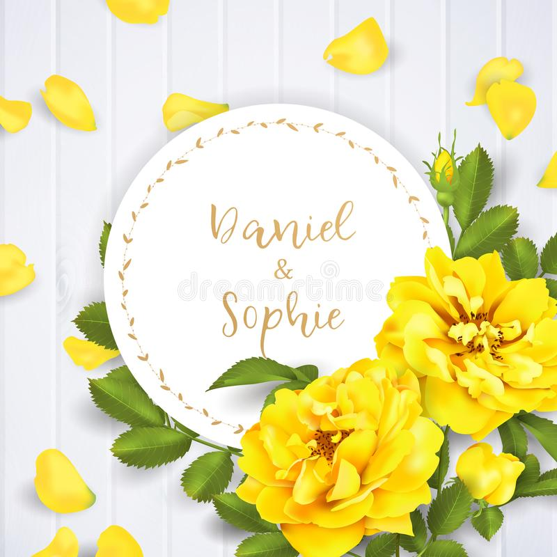 Free Realistic Vector Yellow Rose. 3d Roses Royalty Free Stock Images - 111039639