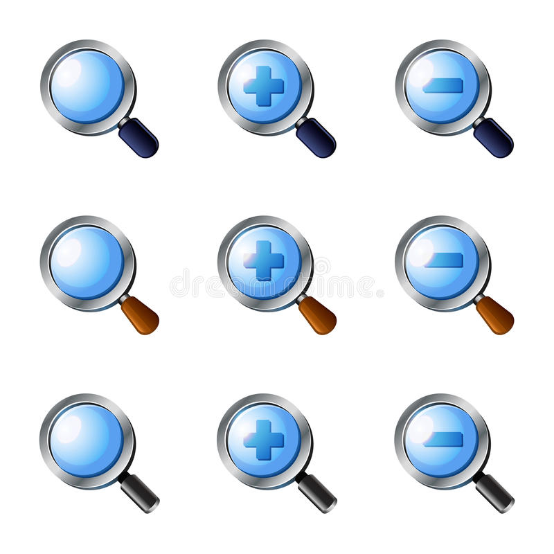 Download Realistic Vector Zoom Icons Set Stock Vector - Illustration: 33870723