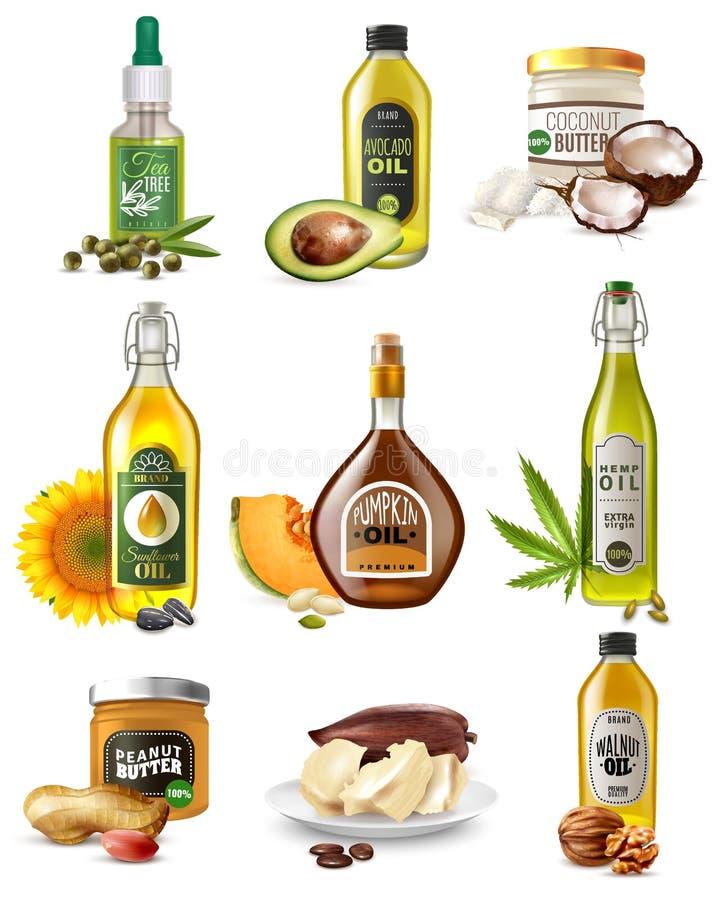 Realistic Vegetable Oils Set royalty free illustration