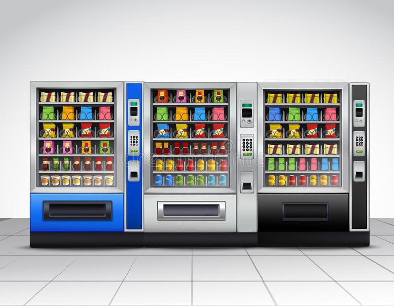Realistic Vending Machines Front View. With food and drinks on tiled floor near grey wall vector illustration royalty free illustration