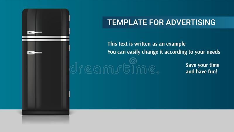 Realistic vintage black fridge icon. Template with retro vintage fridge for advertisement. 3D illustration with an example of design of your message. Realistic stock illustration