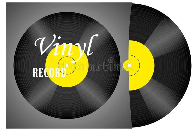 A realistic vinyl record with a cover. Disco. Retro design. Foreground. Music. Live music. Vector stock illustration