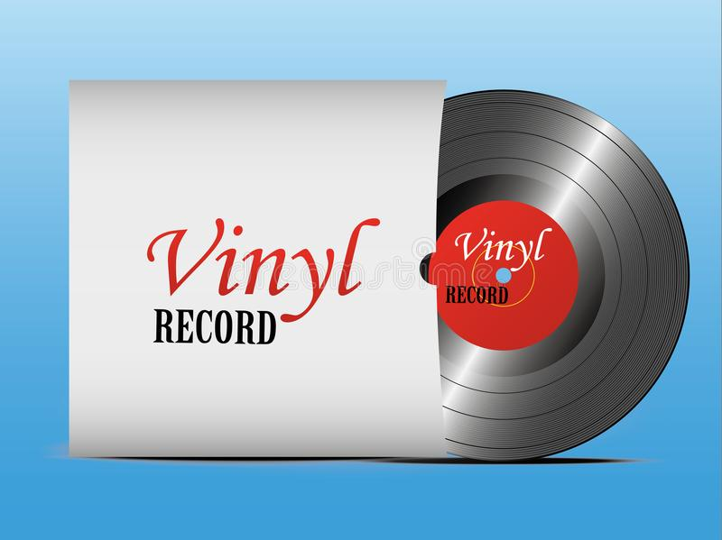 A realistic vinyl record with a cover. Disco. Retro design. Foreground. Music. Live music. Vector royalty free illustration