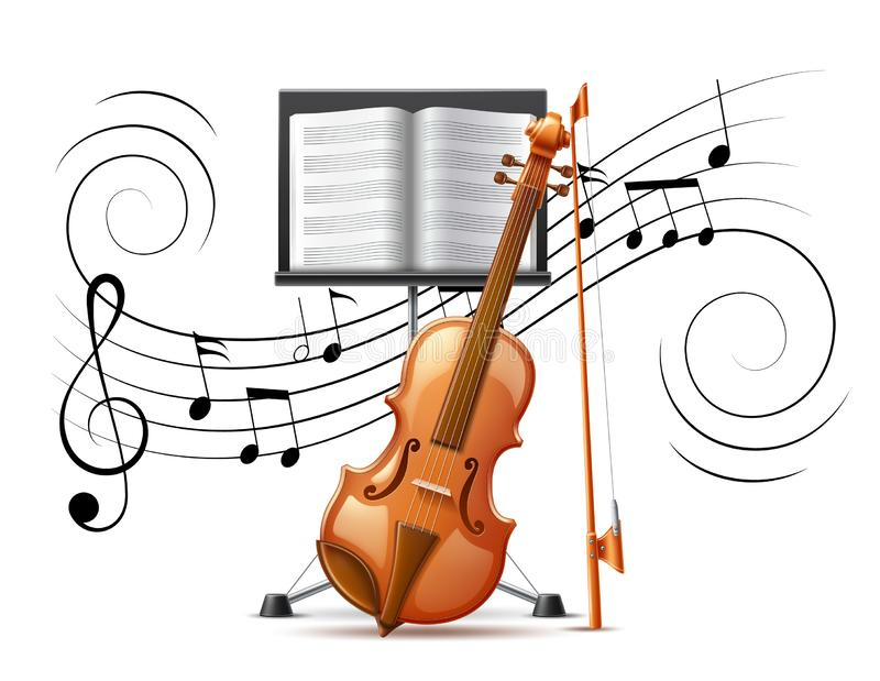 Vector realistic violin and music notation flow. Realistic violin at background of music notation flow treble clef and music rack. Vector classical instrument vector illustration