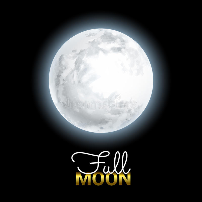 Realistic Volume 3d Full Moon on Black Dark Background. royalty free illustration