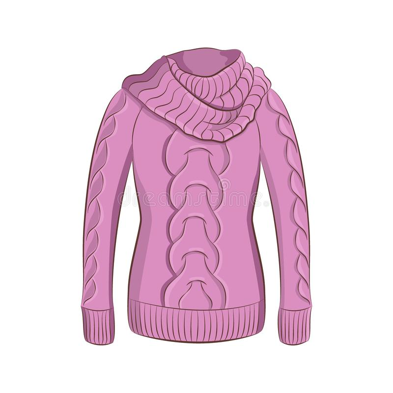 A realistic warm jumper or knitted sweater. Women fashion winter clothes. A realistic warm jumper or knitted sweater with a large collar. Women fashion winter stock illustration