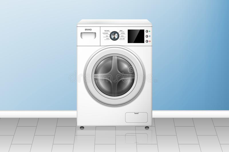 Realistic washing machine in empty laundry room. White washer front view. Modern home appliances. vector illustration. EPS 10 royalty free illustration