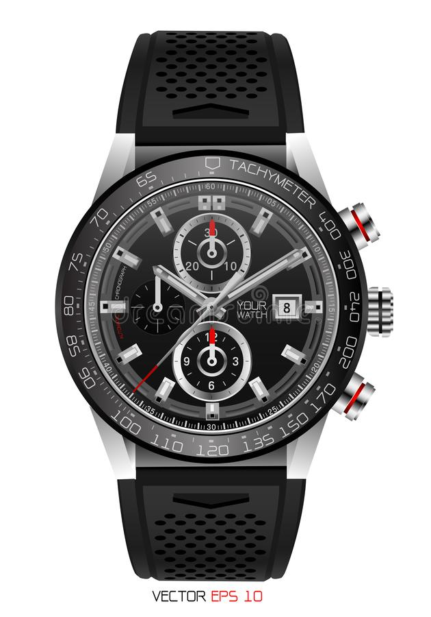 Realistic watch chronograph stainless steel black rubber clockwise red white fashion for men design luxury isolated vector stock illustration