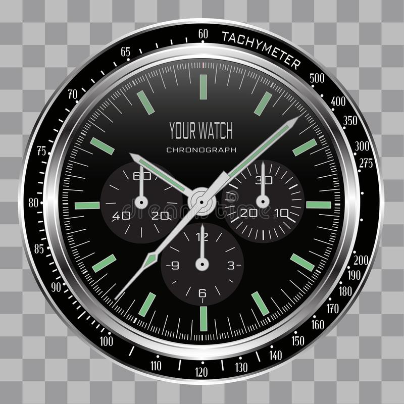 Realistic watch clock chronograph face stainless steel black dial on checkered pattern background vector. Illustration vector illustration