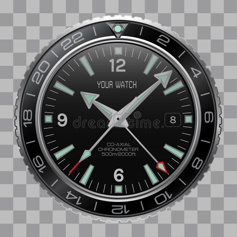Realistic watch clock chronograph face stainless steel black dial on checkered pattern background vector. Illustration stock illustration