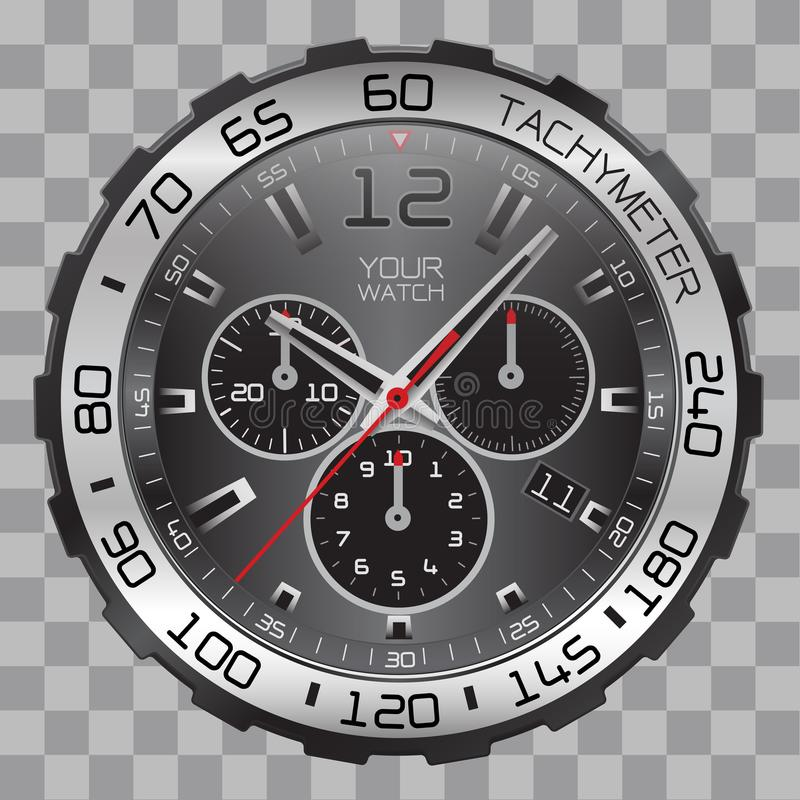 Realistic watch clock chronograph face stainless steel black dial on checkered pattern background vector stock illustration