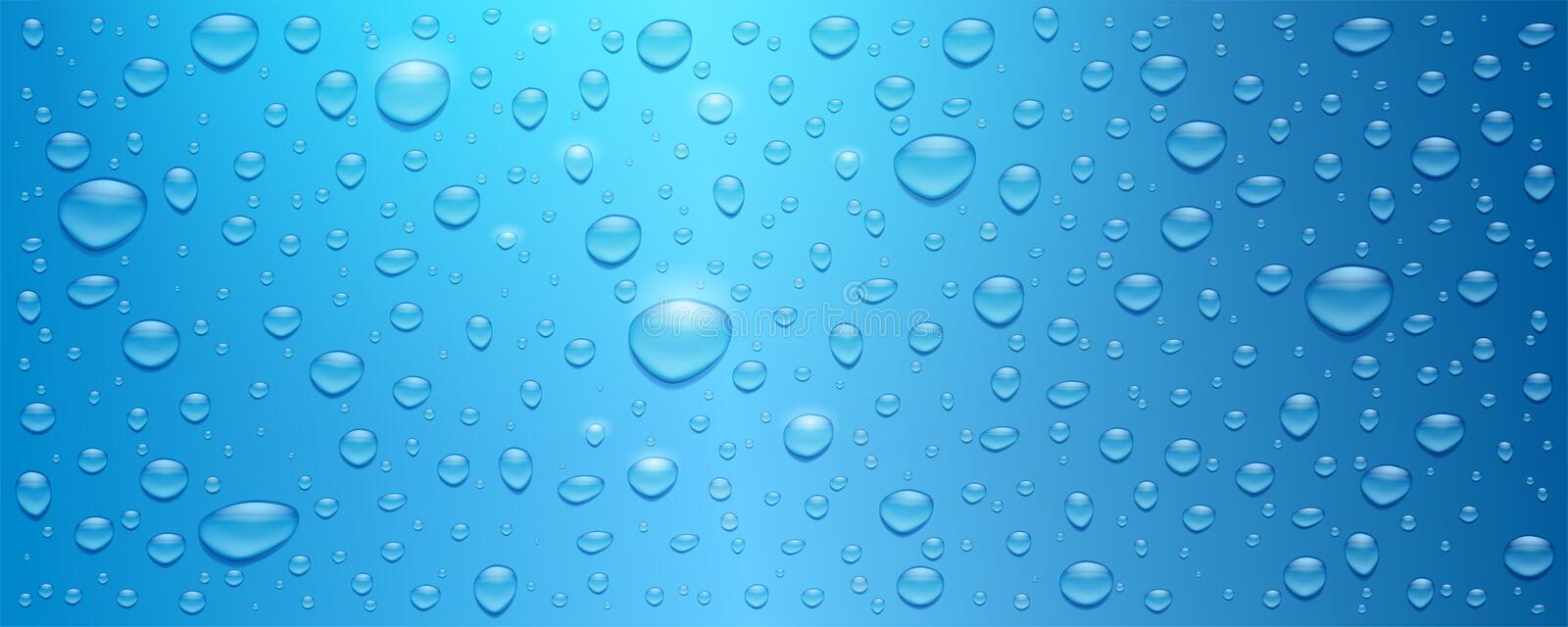 Realistic water drops on blue background. Three dimensional droplets, vector 3d illustration. Textured background with. Glow from the sun for banner, poster vector illustration