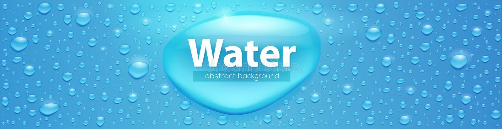 Realistic water drops on blue surface. Template for label of natural water packaging . Volumetric droplets, vector 3d. Illustration. Textured background with stock illustration