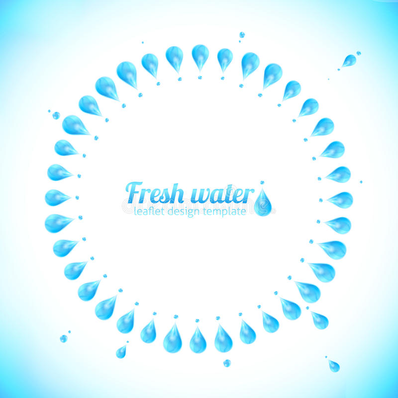 Realistic water drops circle vector frame vector illustration