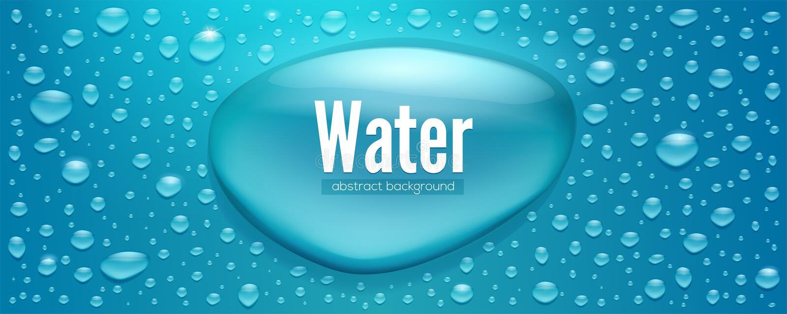 Realistic water drops. Template for water packaging label. Three dimensional droplets, vector 3d illustration. Textured. Background with glow from the sun for vector illustration