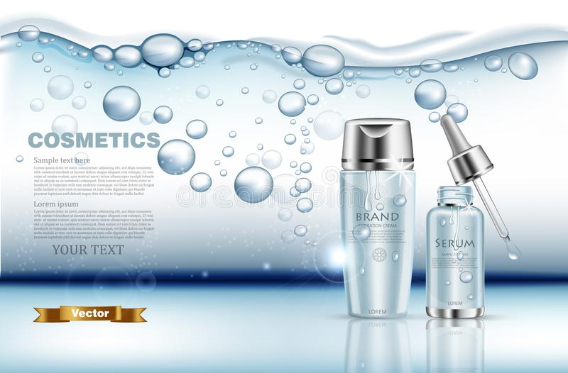 Realistic water serum and lotion set Vector. Product packaging mock up. Blue silver bottles. Underwater splash. Background royalty free illustration