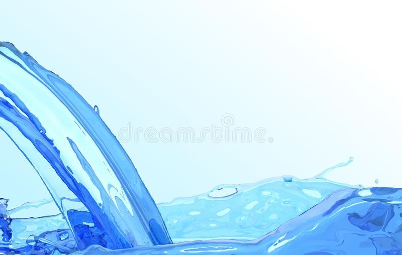 Realistic water stream. Clean wave water surface background. Blue liquid flow and splash. vector illustration