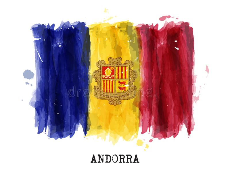 Realistic watercolor painting flag of Andorra . Vector stock illustration