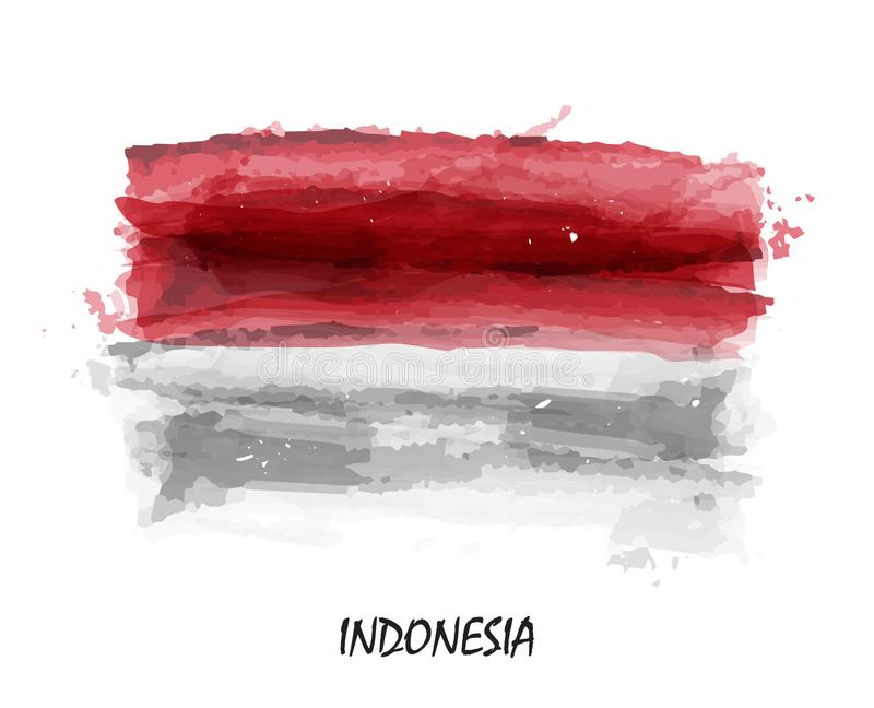 Realistic watercolor painting flag of Indonesia . Vector vector illustration