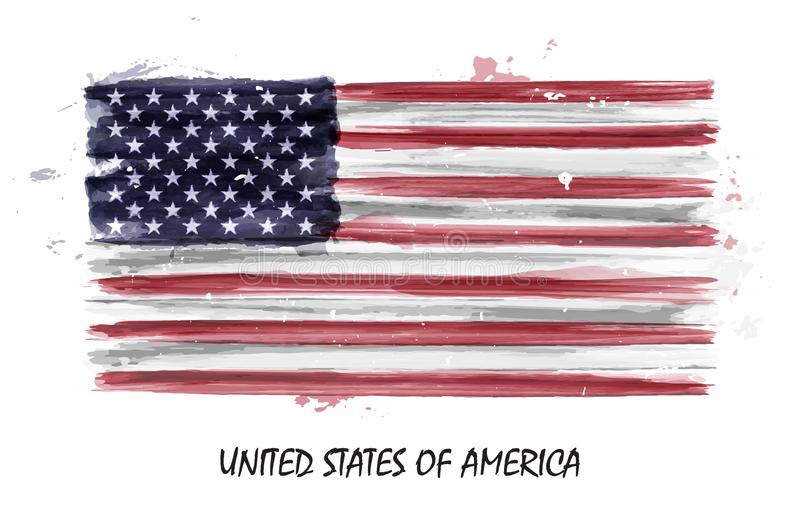 Realistic watercolor painting flag of United states of america . Vector stock illustration