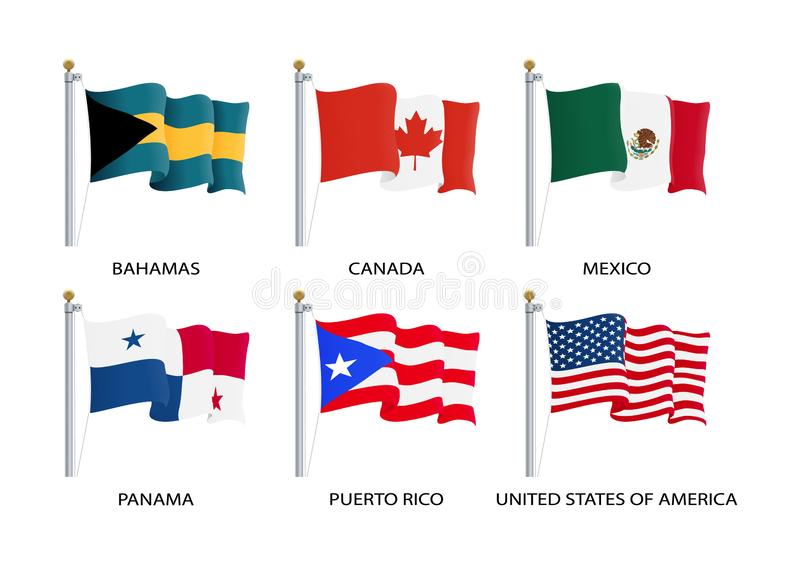 Realistic waving flags of North America continent. USA, Canada, Bahamas, Mexico, Panama, Costa Rico flag on flagpole royalty free illustration