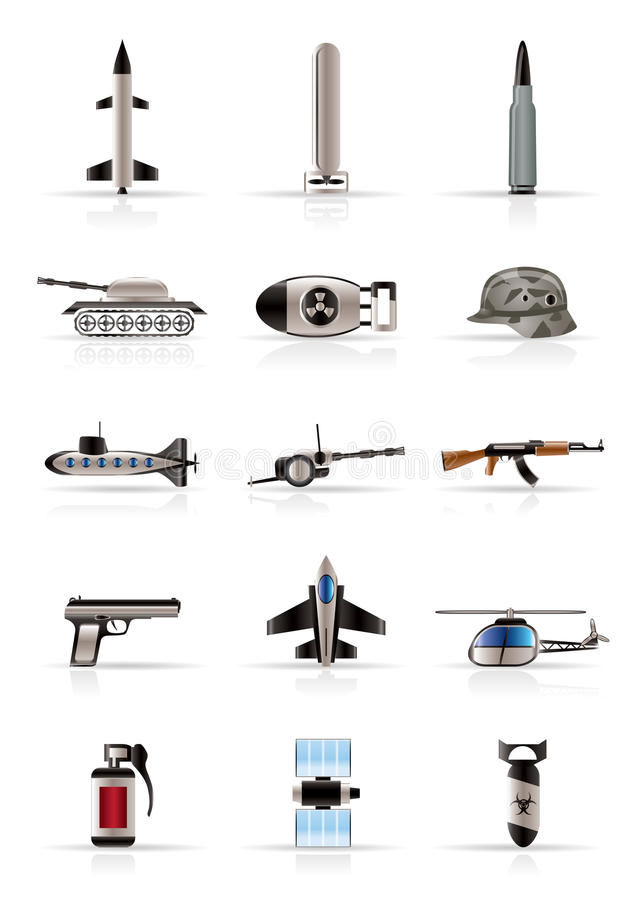 Realistic weapon, arms and war icons royalty free illustration