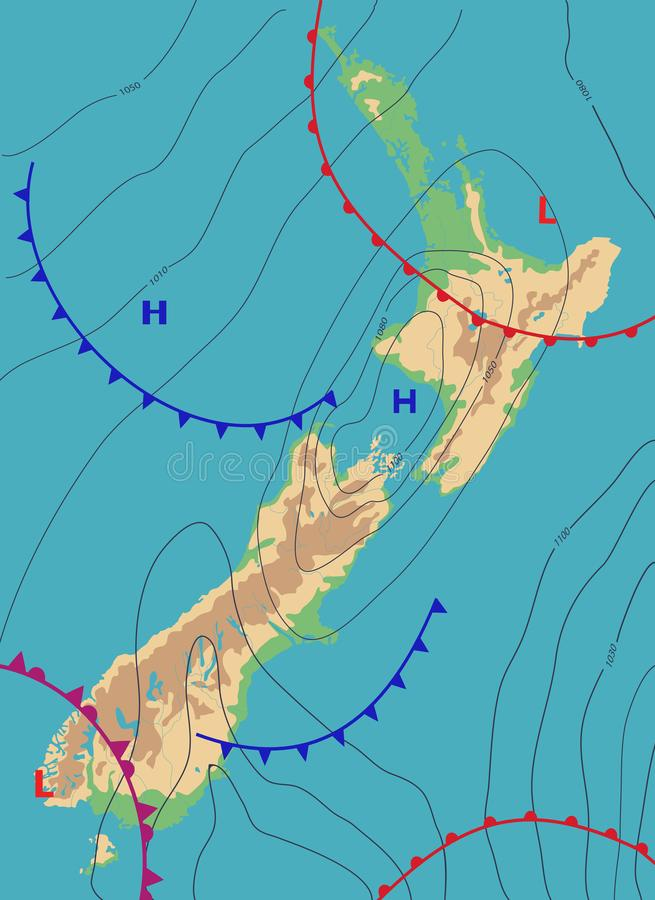 Realistic weather map of the New Zealand showing isobars and weather fronts. Meteorological forecast. Topography map. Vector illustration. EPS 10 royalty free illustration