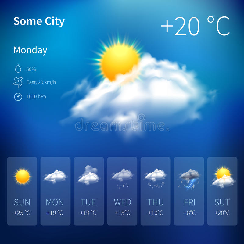 Realistic weather widget royalty free illustration