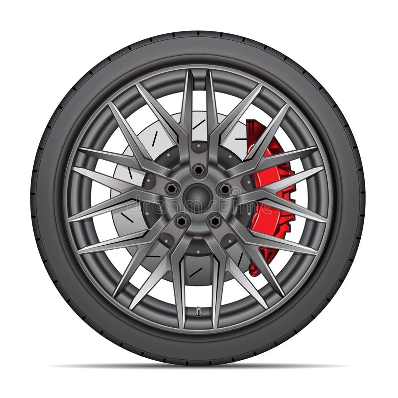Realistic wheel alloy with tire radial and break disk for sport racing car on white background vector. Illustration royalty free illustration