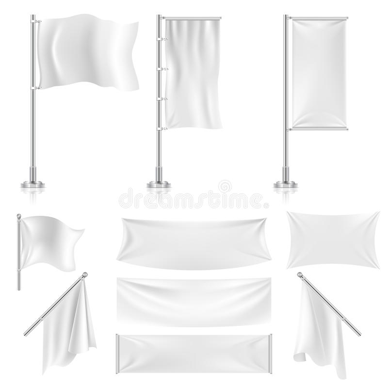 Realistic white advertising textile flags and banners vector set. Advertising flag banner and fabric canvas poster for advertising illustration vector illustration