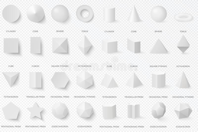 Realistic white basic 3d shapes in top and front view isolated on the alpha transperant background. vector illustration