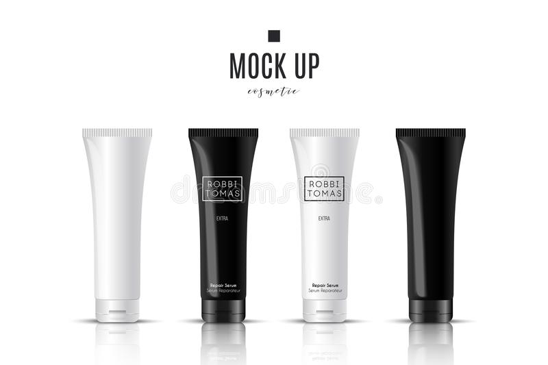 Realistic white cosmetic cream container and tube for cream, ointment, toothpaste, lotion Mock up bottle. Gel, powder. Realistic white and black cosmetic cream royalty free illustration