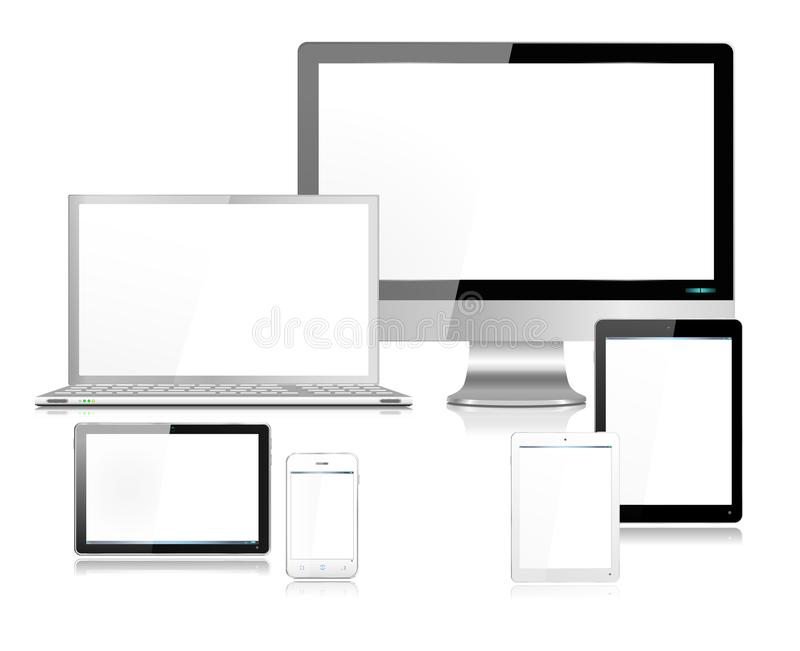 Realistic White & Black Modern Computer Screen Laptop Tablets SmartPhone vector illustration