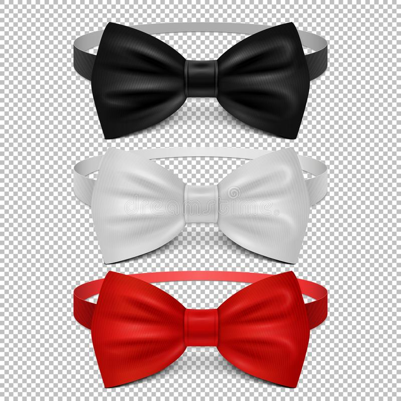 Realistic white, black and red bow tie isolated on transparent background. Set of tie bow knot silk, elegance and fashion formal classic garment. Vector royalty free illustration