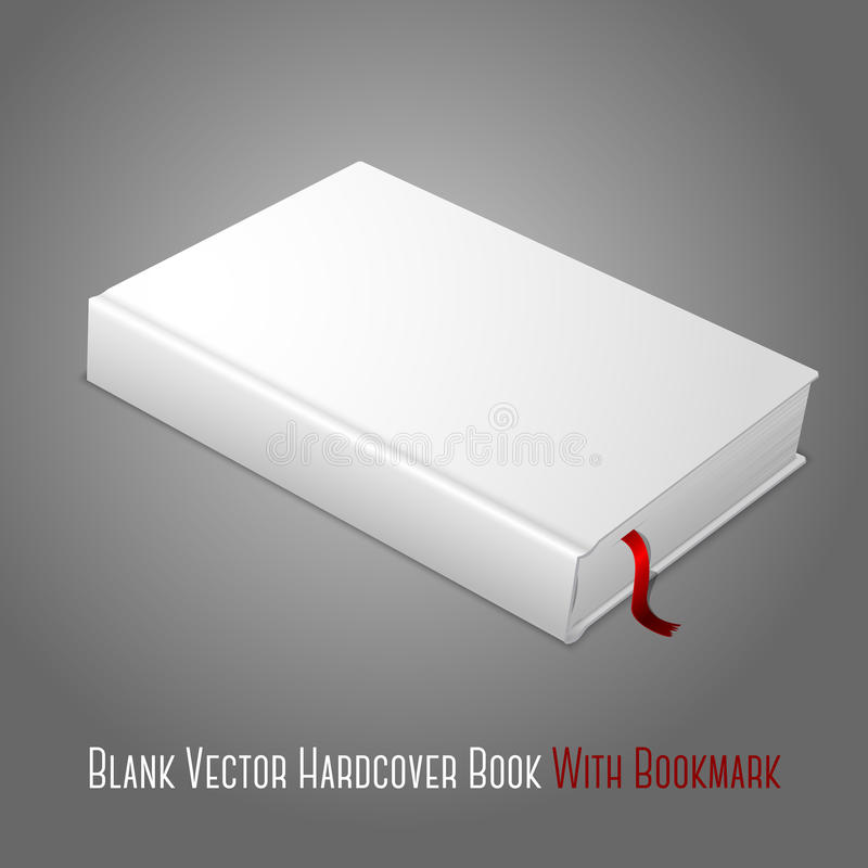 Realistic white blank hardcover book with red stock illustration