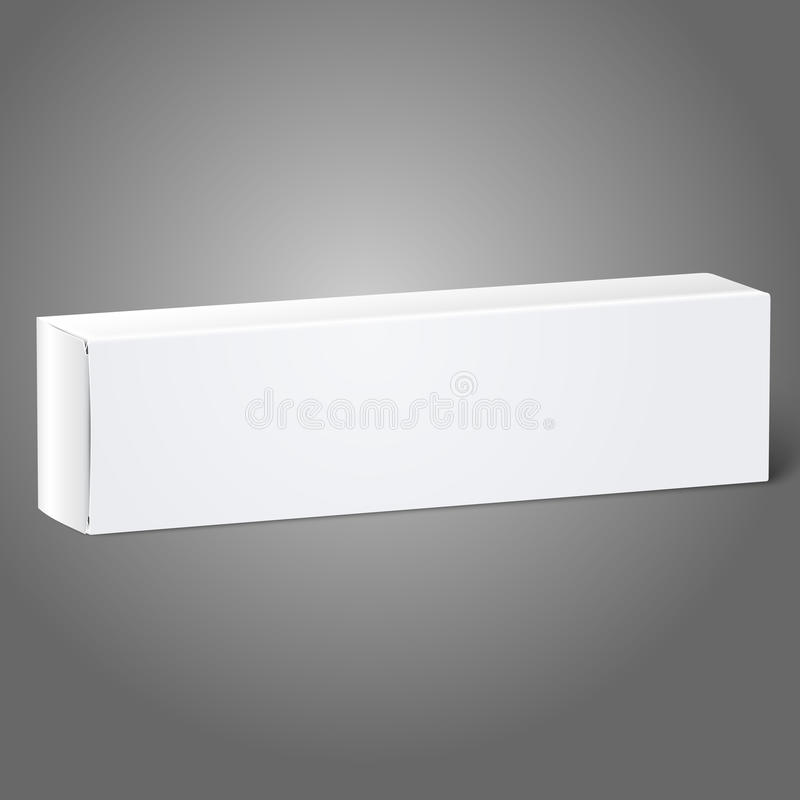 Realistic white blank paper package box for oblong stock illustration