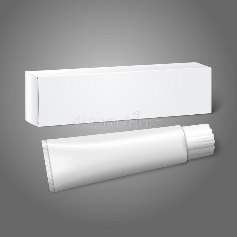 Realistic white blank paper package box with tube vector illustration